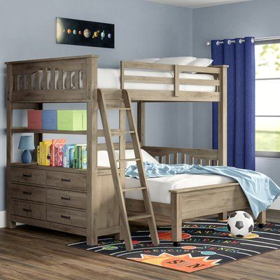 Viv Rae Gisselle L Shaped Bunk Beds With Drawers And Shelves Size Twin Over Full Bed Frame Color Driftwood In 2020 Bunk Beds With Storage L Shaped Bunk Beds Bed With Drawers