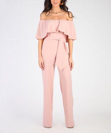 fd6bb054c3ba Look at this  zulilyfind! Light Pink Tie-Waist Ruffle Off-Shoulder ...