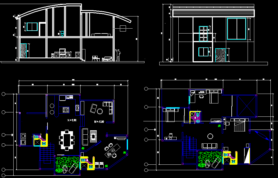 Duplex 2000 square foot house plans for 3 bedrooms | autocad