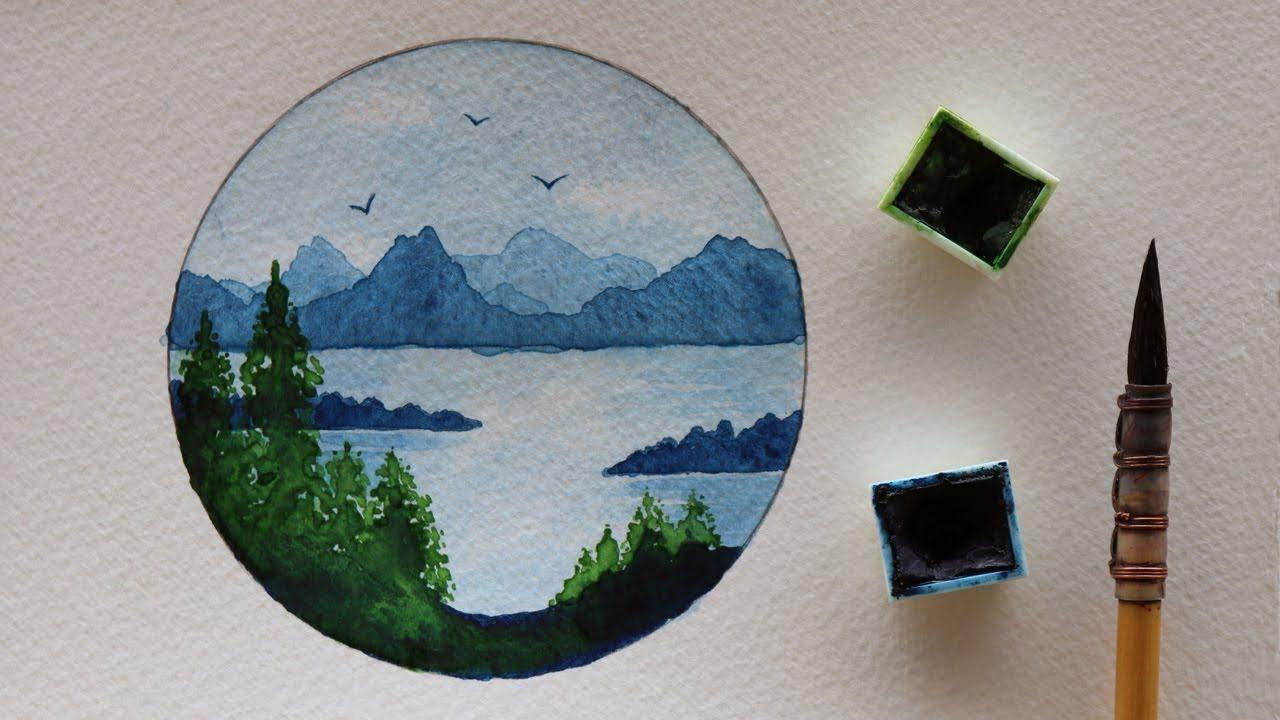 تعليم الرسم بالالوان المائية كيف ترسم منظر طبيعي سهل جدا بلونين فقط الاخضر والازرق تعلم الرسم الوان مائية منظر طبيعي ر Art Drawings Simple Art Drawings