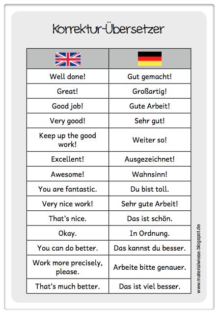 Korrektur Ubersetzer Fur Das Englischheft Deutsch Lernen Deutsch Lernen