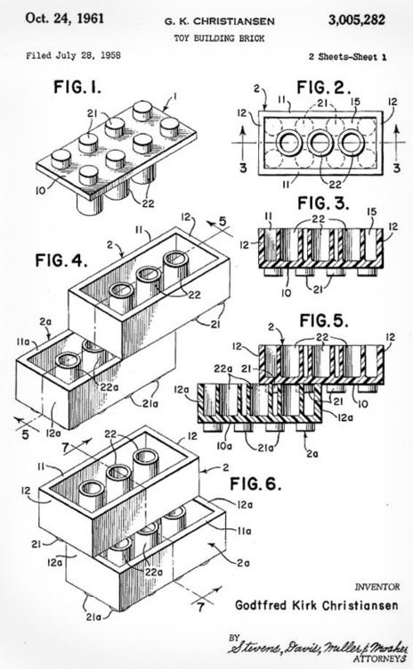 An early LEGO patent drawing circa 1958, the building block of a global cult.