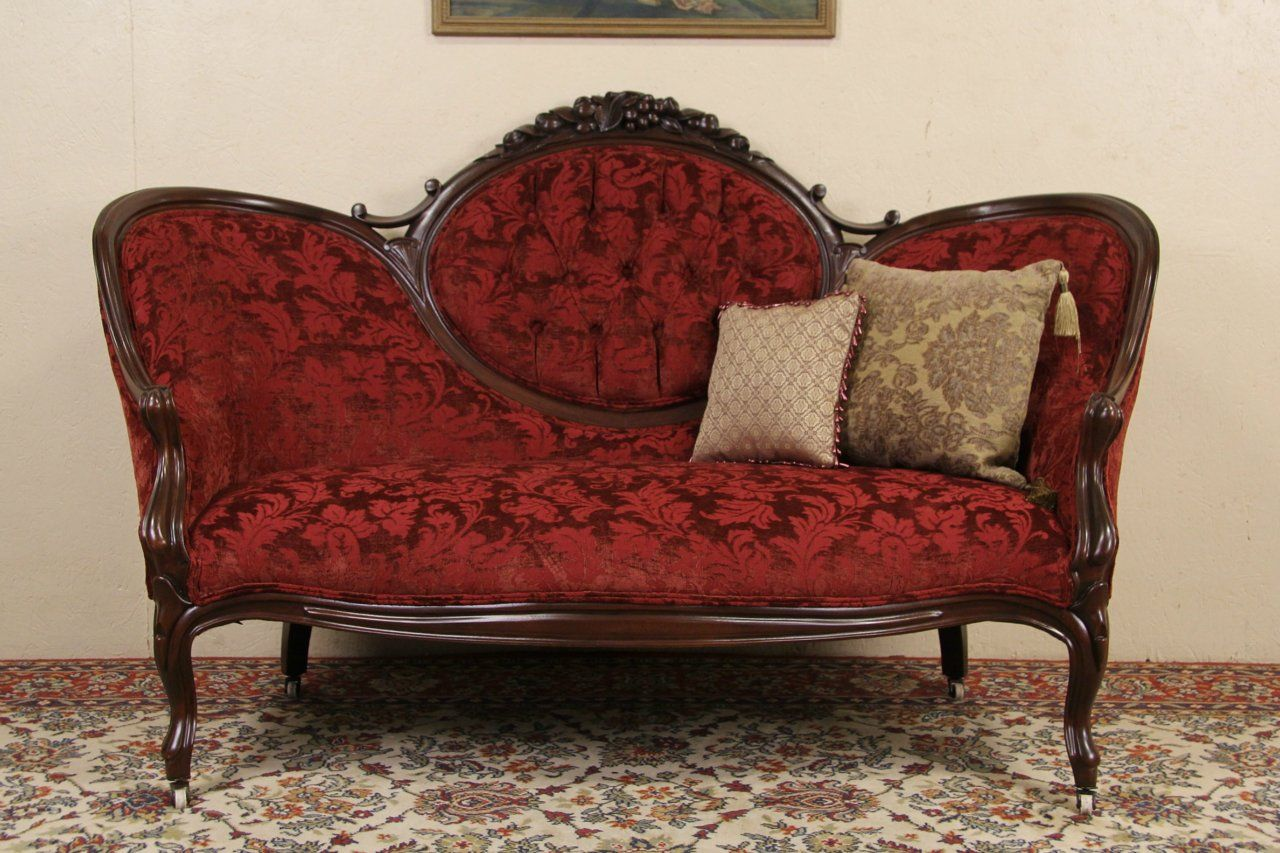 Victorian 1870 Antique Loveseat Carved Fruit Crest From