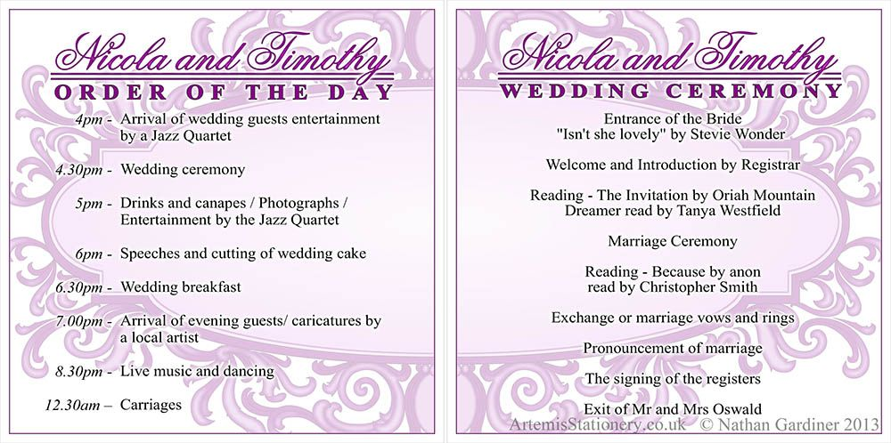 Wedding Programs And Order Of The Day