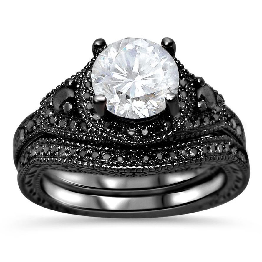 14k Black Rhodium Plated Gold Moissanite and 1/3 TDW Black