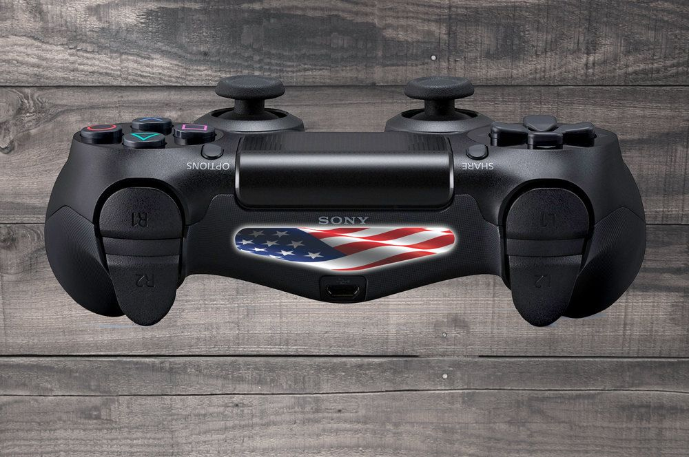 Stars & Stripes US Flag Playstation 4 (PS4) Dual Shock Controller Light Bar Decal (Pack of 2)