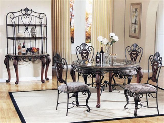 Anyone Know Where I Can Find This 2004 Ashley Pheasant Run Dinette Set I Purchased This Set Metal Dining Room Glass Dining Room Table Glass Dining Table Set