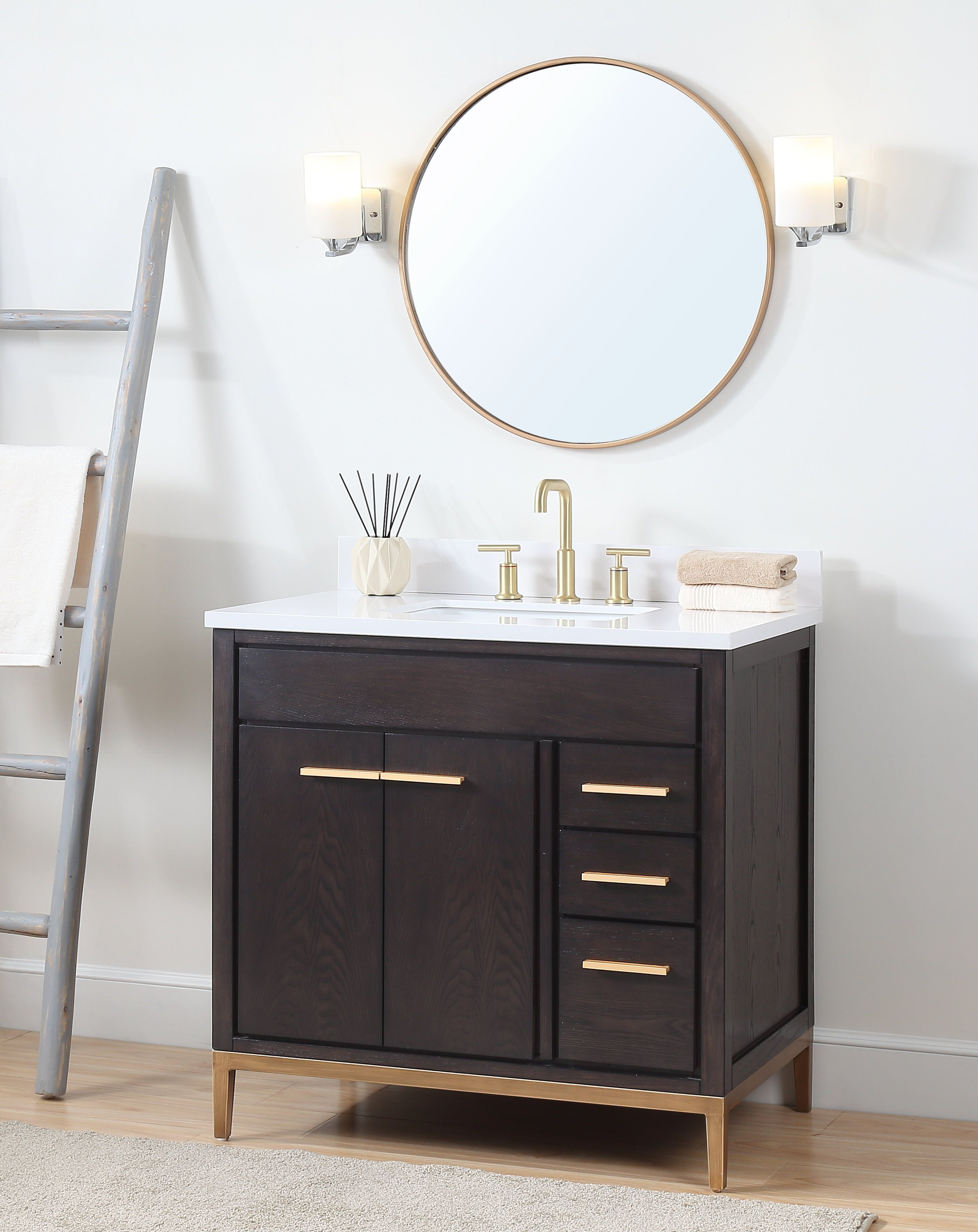36 Tennant Brand Modern Style Beatrice Bathroom Sink Vanity Tb 9838dk V36 Wenge Small Bathroom Makeover Modern Style Bathroom Bathroom Vanities Without Tops