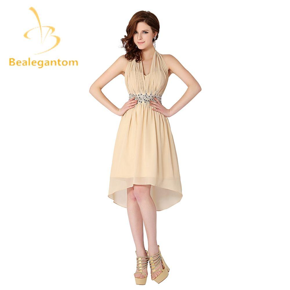 Bealegantom Sexy Halter Champagne Short Prom Dresses 2017 Beaded Chiffon Evening Party Gowns Vestido De Festa QA1014