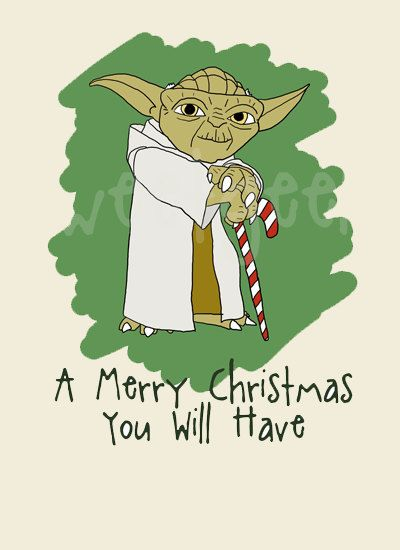 star wars yoda christmas card by sweetgeek on etsy. Black Bedroom Furniture Sets. Home Design Ideas