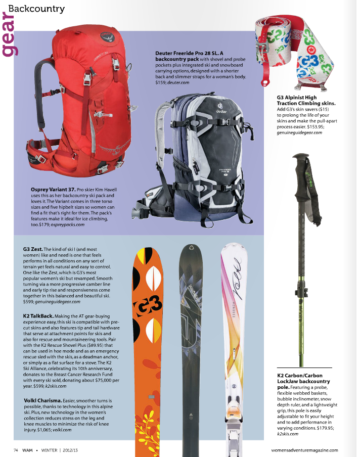 VOLKL Charisma in Women's Adventure Dec. 2012