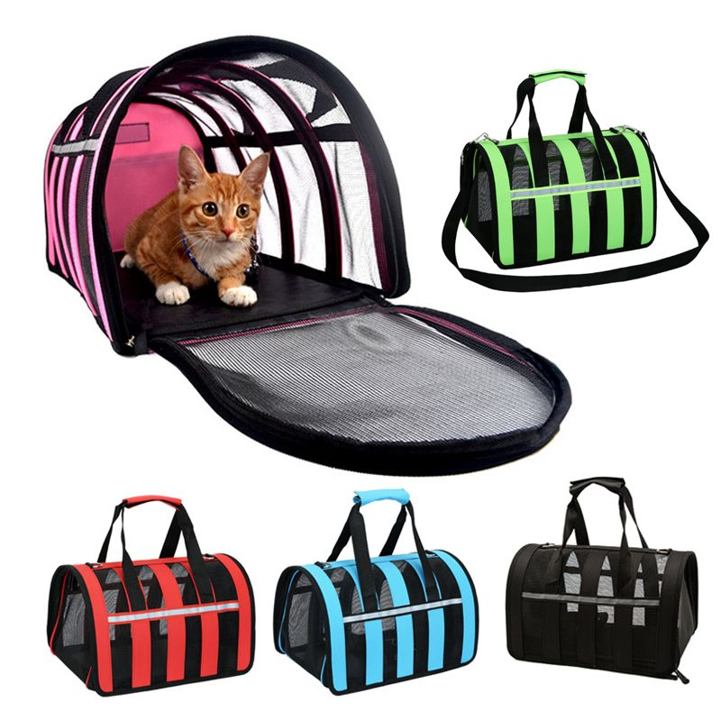 e95a767099 Portable Dog Cats Bag For small dogs Cage Mesh Breathable pet carrier bag  carry Box for cats Five colors Retail Free shipping 15-in Carriers &  Strollers ...