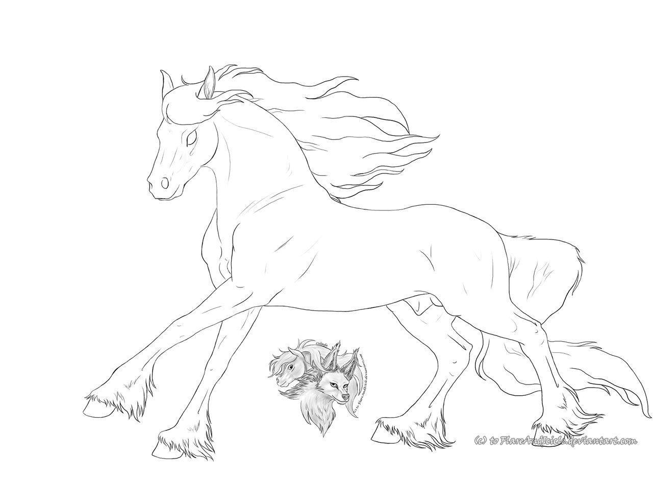 Free Friesian lineart by FlareAndIcicle.deviantart.com on