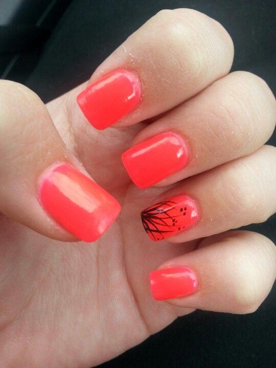 Black Coral Nails Nails Orange Nails Coral Nails