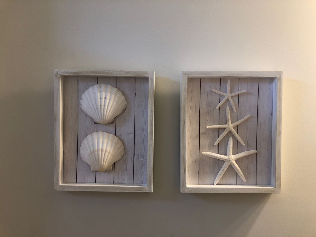 #beach #beachthemed #housedecoration #diy #beachbathroom #wallart