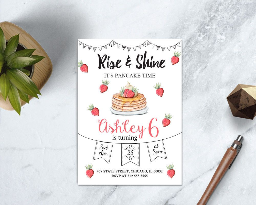 free printable pancakes and pajamas party invitations - Picture ...