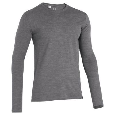 0f4f12329ceee Tee-Shirt manches longues TRAVEL 500 WOOL Homme gris FORCLAZ   Steve ...