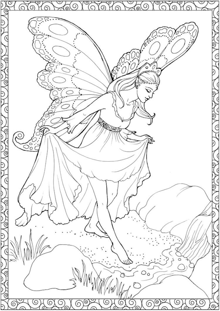 Dover Creative Haven Enchanted Fairies Coloring Page 1