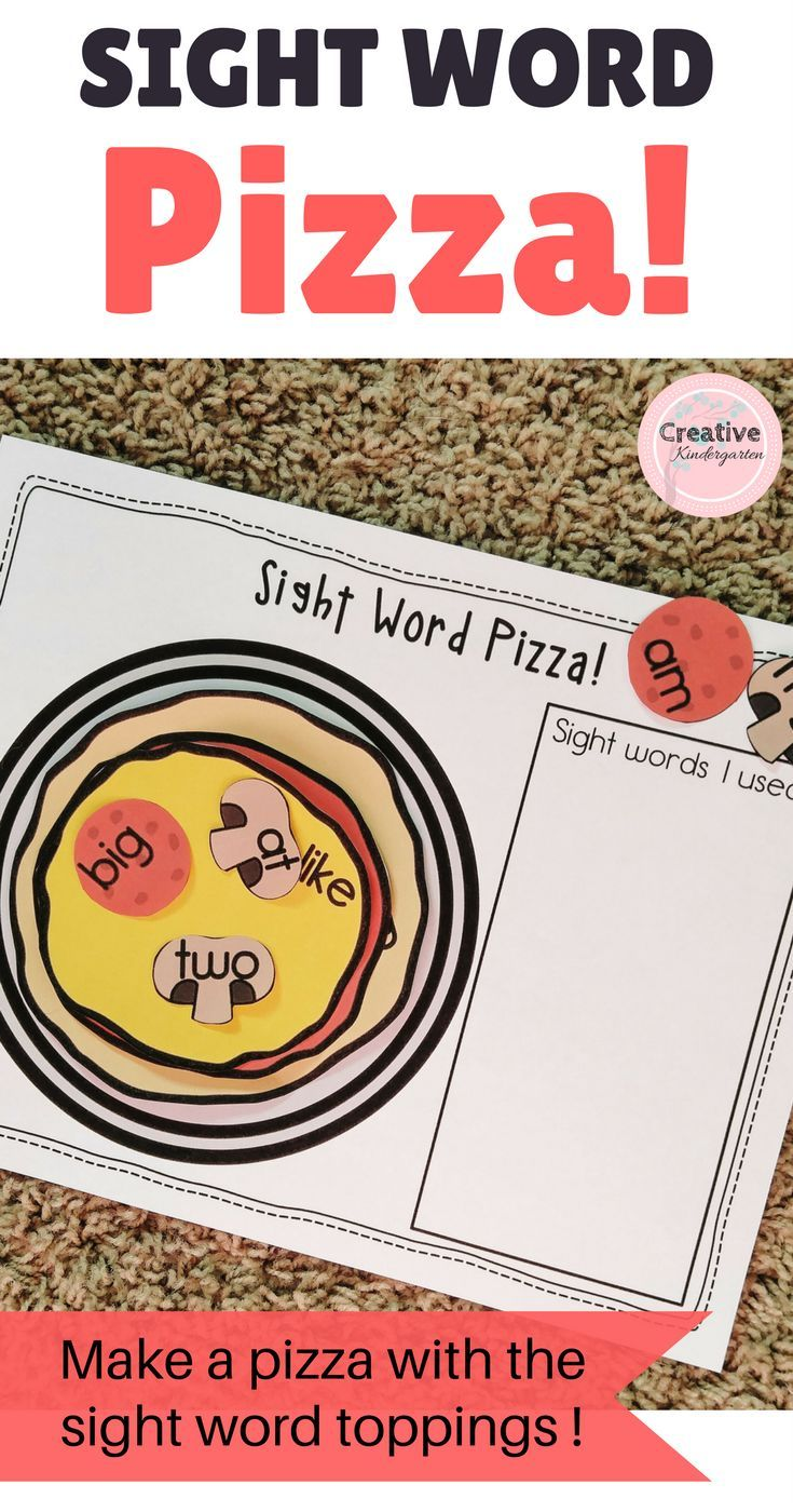 Sight Word Pizza Literacy Center for Kinderagarten