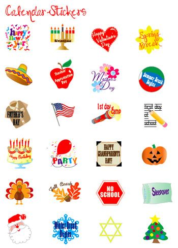 Event Stickers For Kids To Decorate Their Calendars  Free