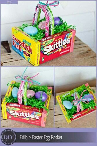 Candy basket easter pinterest easter and easter party easy to make easter basket with easter candy from dollar tree negle Images