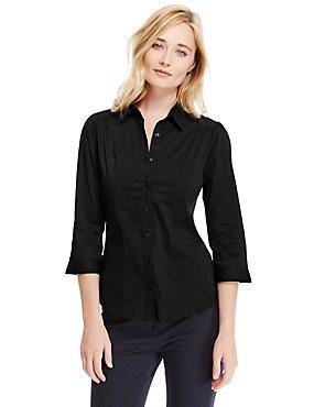 Black No Peep™ 3/4 Sleeve Easy to Iron Shirt