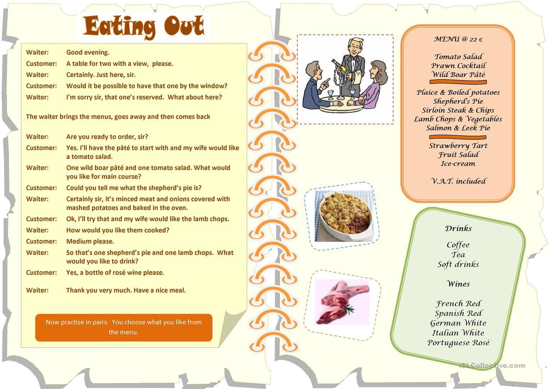 worksheet Ordering Food Dialogue Worksheet restaurant menu dialogue esl pinterest worksheets dialogue