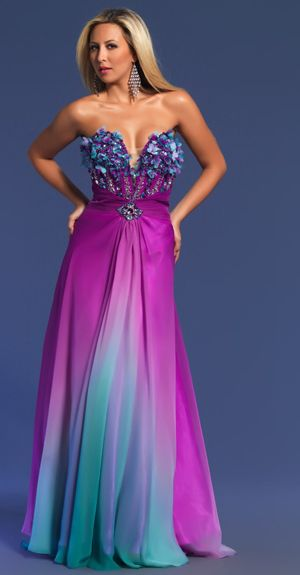 Magenta And Turquoise Ombre Print Strapless Prom Dress.. my ...
