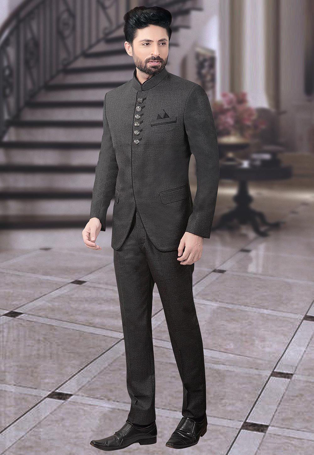 Terry Rayon Jodhpuri Suit in Charcoal