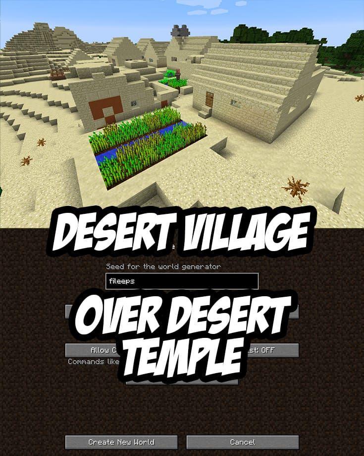 Desert Village over Desert Temple at Spawn  Seed: fileeps