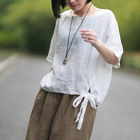 44cbd0d3dc3878 Johnature 2018 Summer New Women Cotton Linen T-Shirt O-Neck Vintage Short Sleeve  Tops Japan Style Brief Bow Women T-Shirts