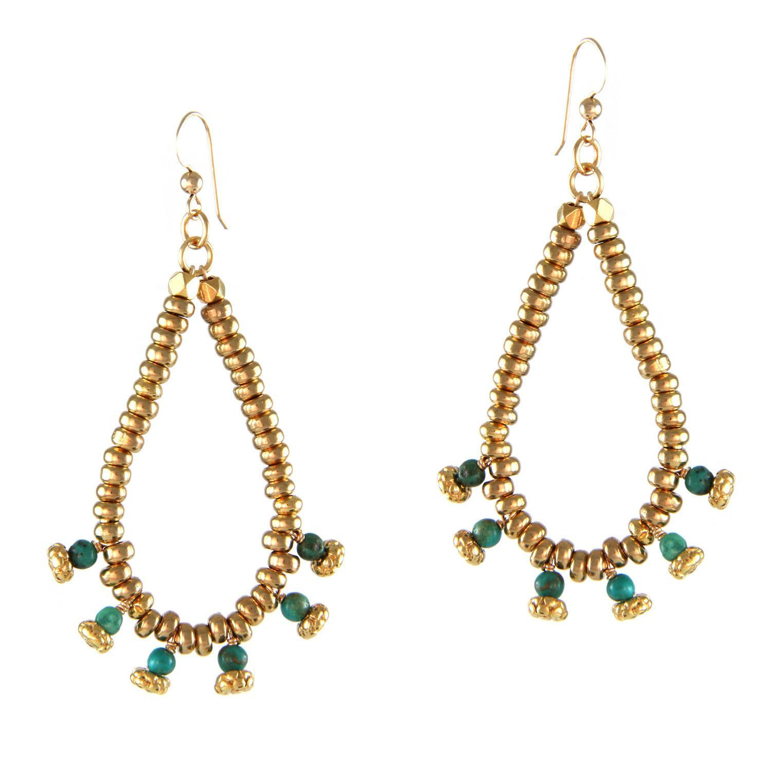 Cowgirl Fiesta in Turquoise and Gold Earring