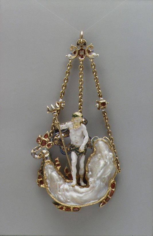 Pendant in the Form of Neptune and a Sea Monster. Date: early 17th century. Culture: probably Netherlandish. Medium: Baroque pearl with enameled gold mounts set with rubies, diamonds, pearls. | © 2000–2015 The Metropolitan Museum of Art