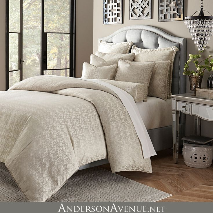 The Carlyle Is A Soft Neutral Bedding Collection With Shimmering Textured Fabrics And Sleek And Beaut King Comforter Sets Luxury Comforter Sets Comforter Sets