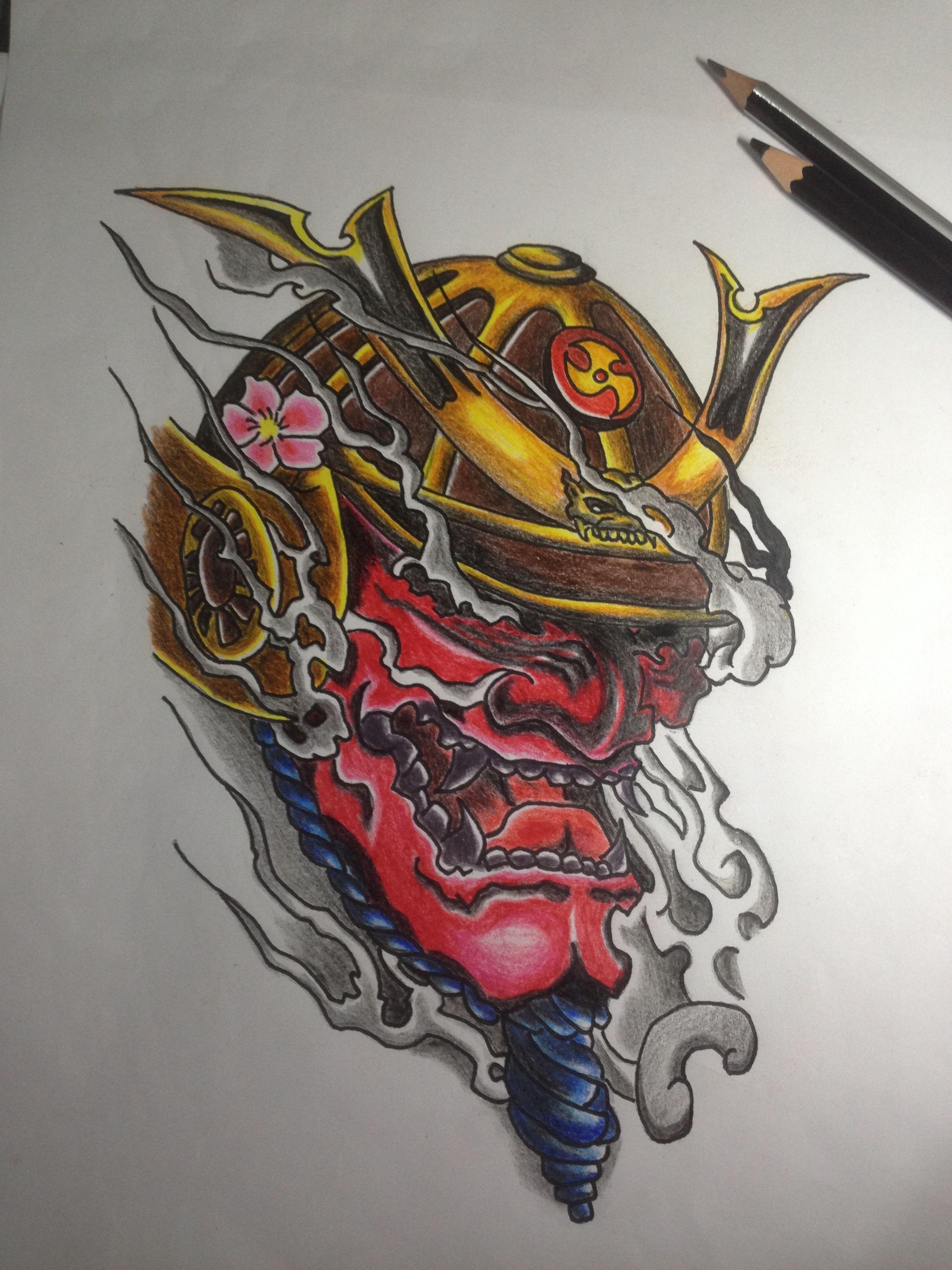Japanese Samurai Draw And Colour The Sleeve Samurai Mask Tattoo