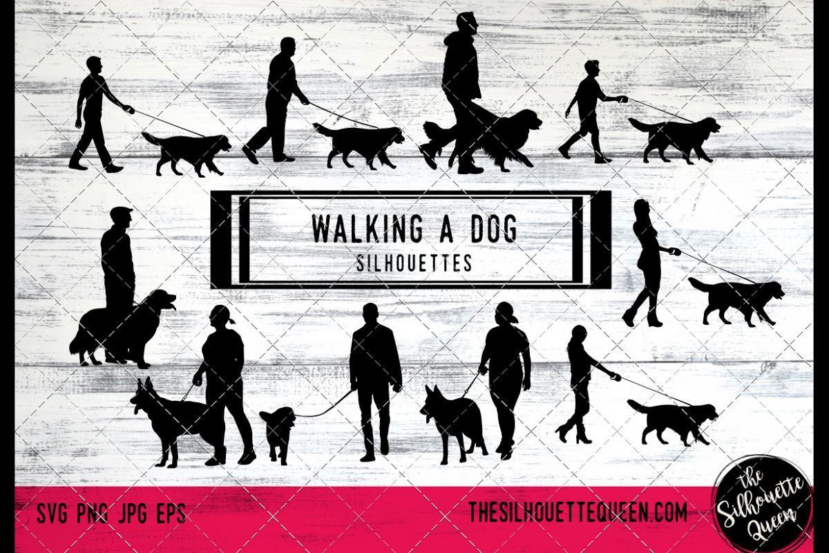 Walking A Dog Svg Files Cricut Girl Walking A Dog Silhouett 142211 Illustrations Design Bundles Dog Silhouette Silhouette Vector Silhouette