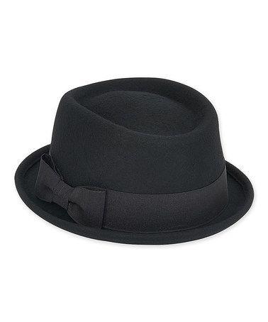9734bc5aac5 Loving this Black Ribbon-Bow Adjustable Wool-Blend Porkpie Hat on  zulily!   zulilyfinds