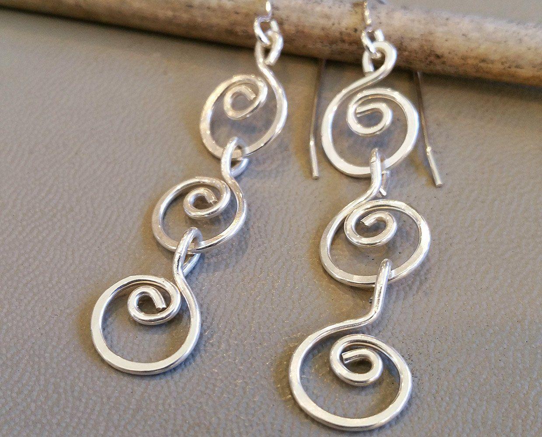 Three Little Swirls Long Dangle Earrings bdb8828aaea5