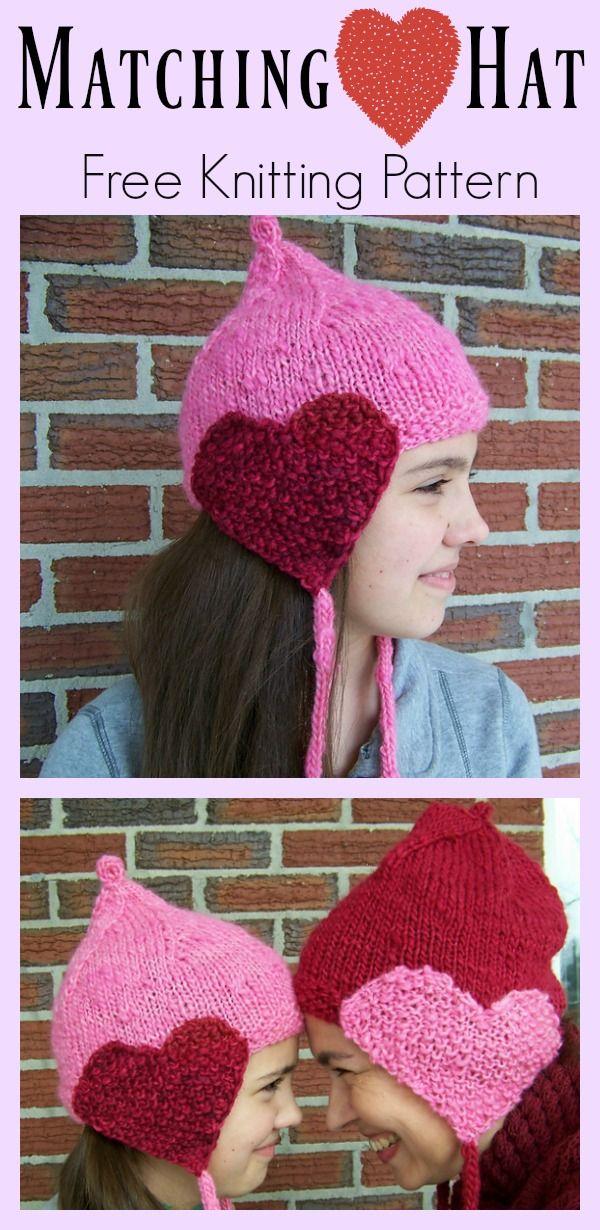 Matching Hearts Hat Free Knitting Pattern Knit Patterns Patterns