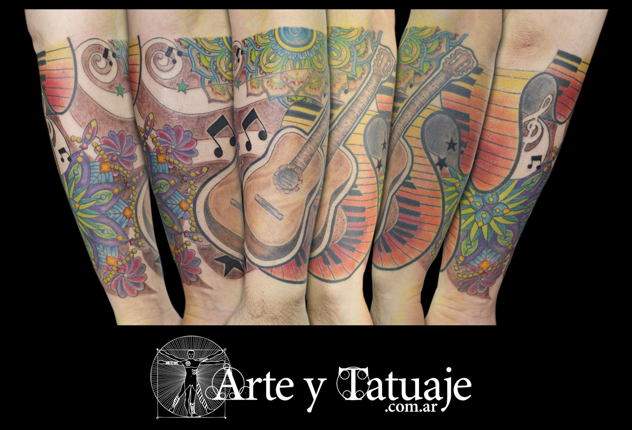Tatuaje de guitarra y mandalas, personalizado en #arteytatuaje  wp: 1126214494   #tatuajes #mandalastattoo #guitarratattoo #tatuajemandala #ink #inklove #tattooed #tatuajesacolor #musica #Lovemusic