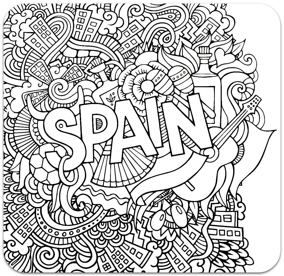 Раскраска-антистресс Испания - Раскраски для детей | adult ...