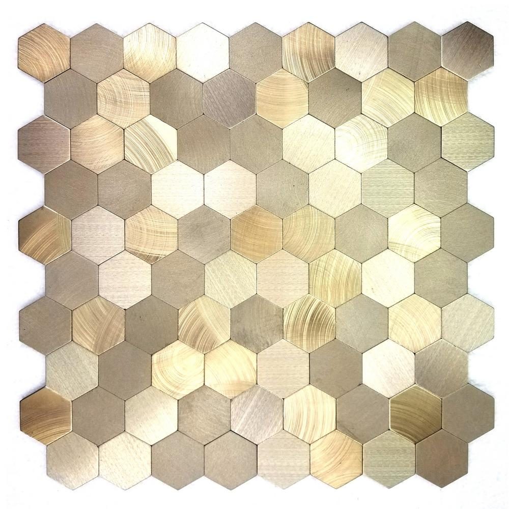 Abolos Enchanted Metals Gold Hexagon Mosaic 12 In X 12 In Brushed Peel Stick Wall Tile 0 9 Sq Ft Hmdehmhex Go Mosaic Tiles Tiles Hexagon Mosaic Tile