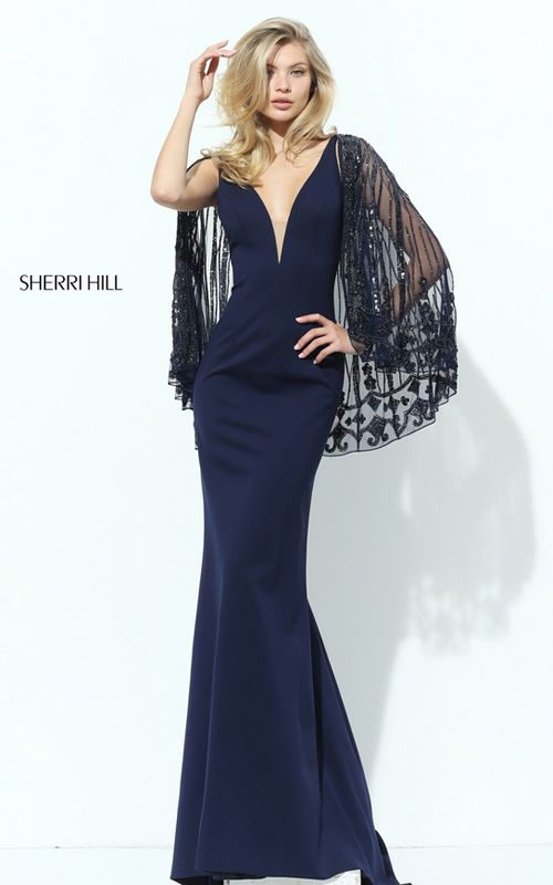 V Neck Beaded Cape Sherri Hill 50655 Navy Evening Gown | My Style ...