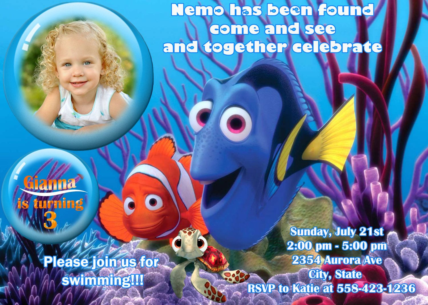 Finding Nemo Birthday Party Invitation by PartyFunPrintable 899