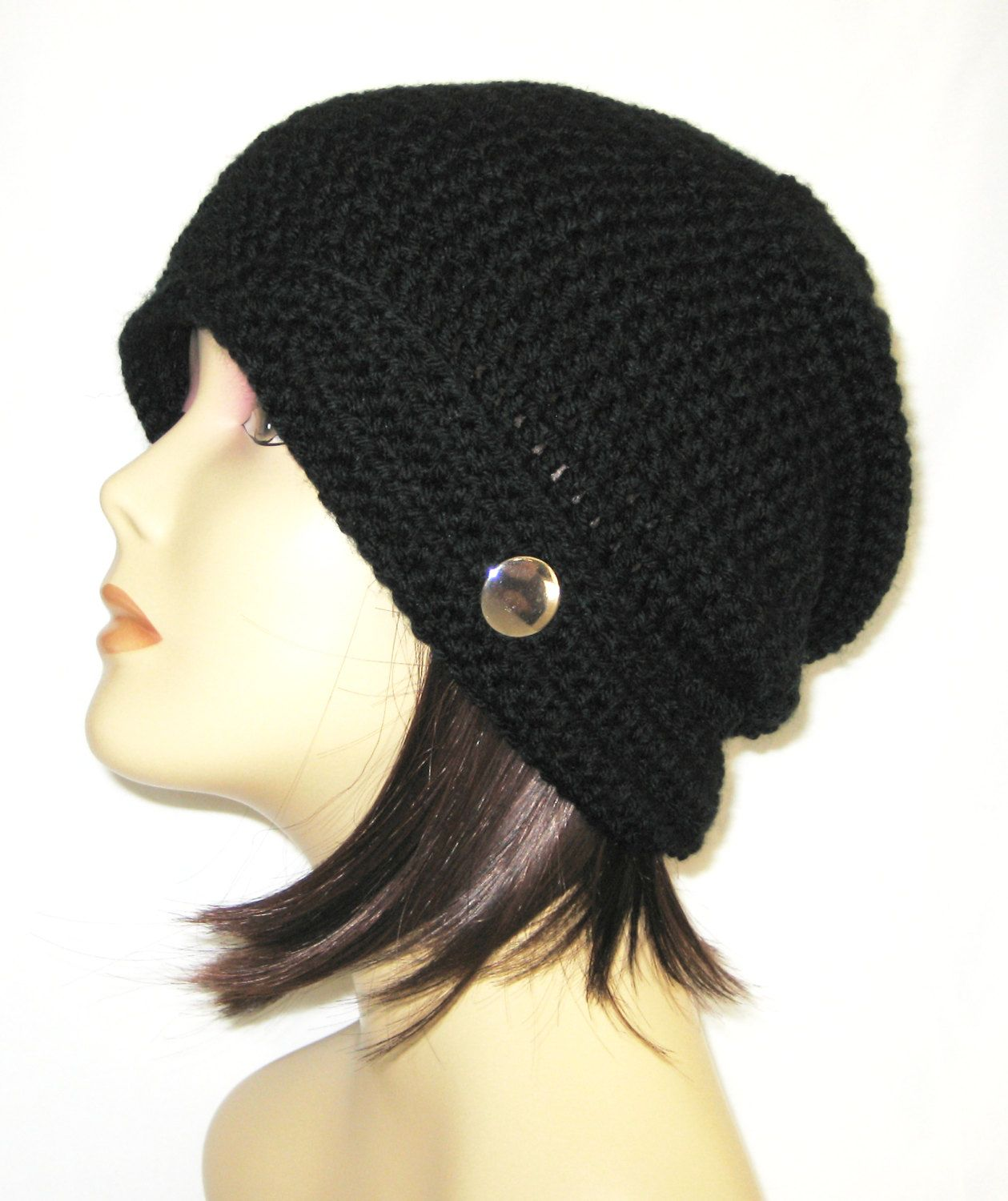 "flipped side brim slouch,beanie,hat,cap,decorated with button,color black,made to fit teens & adults 21-23"" by Jeniebugs on Etsy"