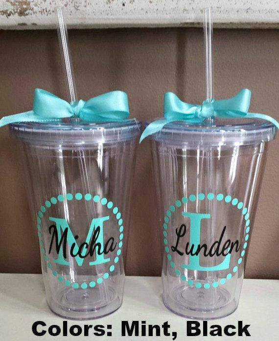 Personalized Monogram Tumbler Vinyl Decal DIY Stickers - Custom made vinyl decals