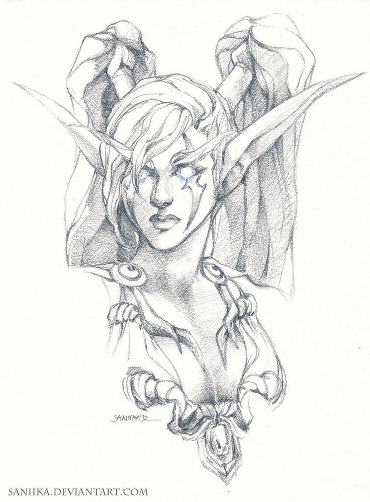 dark elf drawing - Google Search | World of Warcraft fan ... | 736 x 997 jpeg 104kB