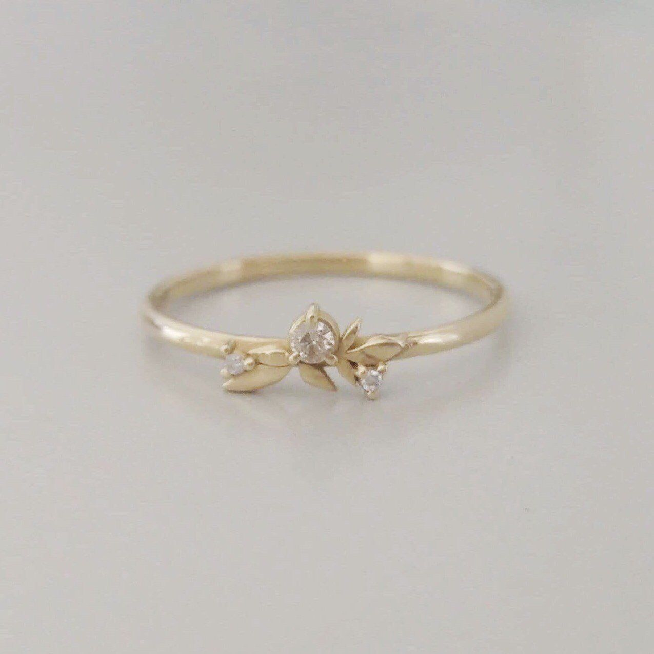 Gold Leaf Wedding Ring Dainty Diamond Ring Thin Gold Etsy Leaf Wedding Rings Dainty Diamond Ring Unique Engagement Rings