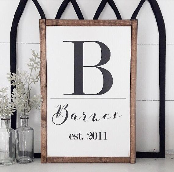 Personalized Last Name Sign | Newlywed Decor | Bedroom Wall Hangings | Farmhouse Decor | Bridal Shower Gifts | Customize | Initial