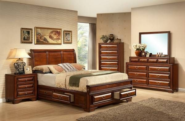 Queen Sleigh Bed With 6 Underbed Storage Drawers Master Bedroom Set Bedroom Furniture Sets Bedroom Set
